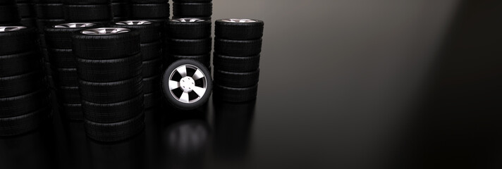 Several stacks of car tires