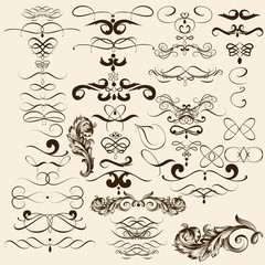Collection of vector flourishes in vintage style