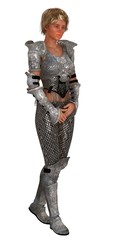 Female knight in ornate armor isolated