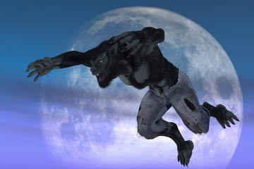 Werewolf against moon