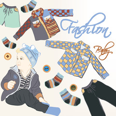Fashion vector  background with baby and trendy clothiers