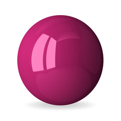 Pink shiny sphere isolated