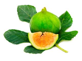 Ripe fig fruit with leaf