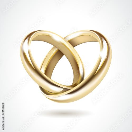 Wektor złote obrączki ślubne na białym tle