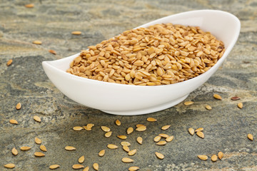 bowl of gold flax seeds