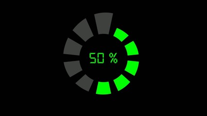 progress bar - digital style, radial design, green on black