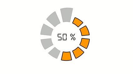 progress bar - digital style, radial design, orange on white