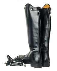 horse riding  dressage boots and spurs isolated on white