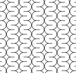 Black and white seamless pattern with curved line.