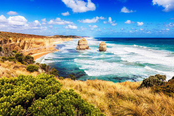 Twelve Apostles in turquoise sea along Great Ocean Road in Austr