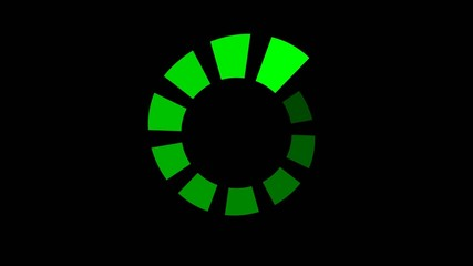 progress wheel spinning - seamless looping, green on black