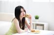 Woman loves hamburger