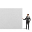 Businessman holds a blank billboard