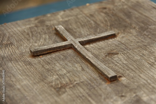canvas print picture gebetsbuch aus holz III