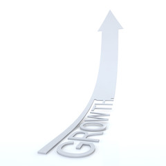 Elegant White Arrow Growth, High-resolution 3d rendering