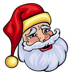 Santa Claus head isolated on a white background.