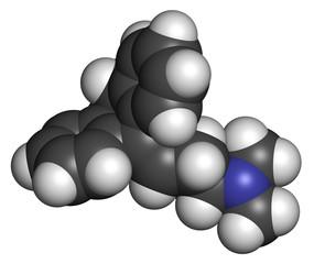 Amitryptiline tricyclic antidepressant drug molecule.