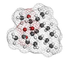 Artemether malaria drug molecule.