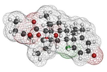Beclometasone dipropionate glucocorticoid drug molecule.