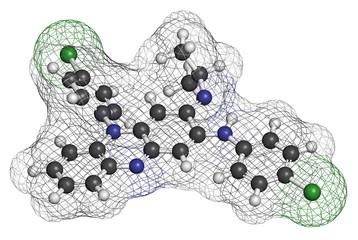 Clofazimine leprosy drug molecule.