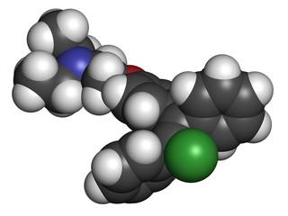 Clomifene (clomiphene) ovulation inducing drug molecule.