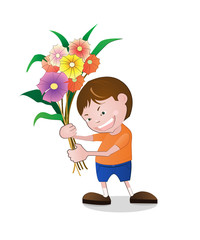 Illustration of boy holding flowers.Vector file.