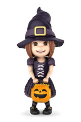 3D render of a girl wearing Halloween witch costume