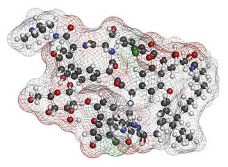 Dalbavancin glycopeptide antibiotic drug molecule.