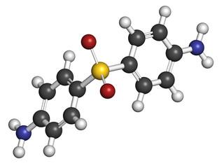 Dapsone antibacterial drug molecule.