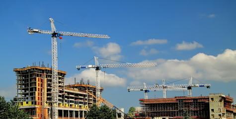 Construction  three new high-rise building five cranes