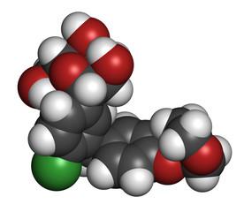 Empagliflozin diabetes drug molecule.