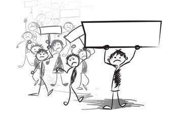 Cartoon people representing .Protest meeting