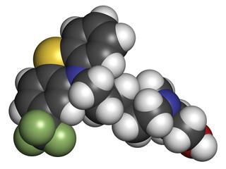 Fluphenazine antipsychotic drug molecule.