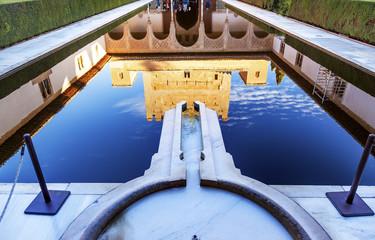 Alhambra Courtyard Myrtles Pool Granada Andalusia Spain