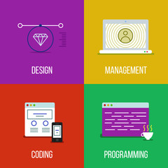 icon set of design, management, coding and programming