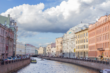 River channel with boats in Saint-Petersburg. Summer