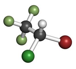 Halothane general anesthetic drug molecule.