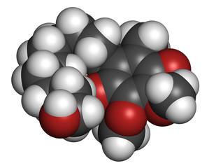 Idebenone drug molecule.