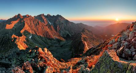 Mountain sunset panorama from peak - Slovakia Tatras