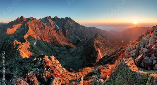 Mountain sunset panorama from peak - Slovakia Tatras - 70454721