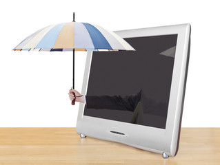 hand with umbrella pops out of TV screen