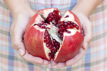 Open pomegranate in woman's hands.