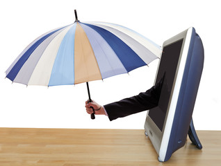 arm with umbrella leans out TV screen