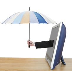 arm with umbrella pops out TV screen