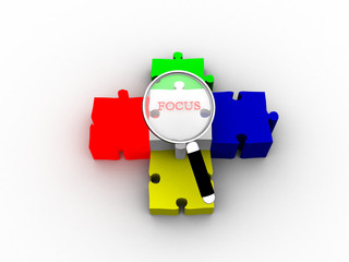 Magnifying glass searching on puzzle peace
