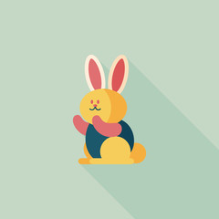 Rabbit flat icon with long shadow,eps 10