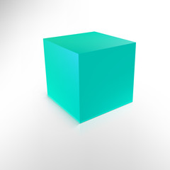Blue cube with shadow and reflection isolated on white.