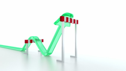 Arrow jumping over hurdles