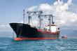 commercial cargo ship on ocean