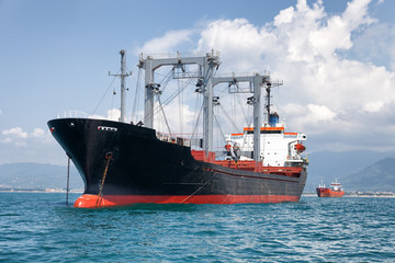 commercial cargo ship on ocean